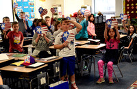 Marine visits elementary classroom that offered support