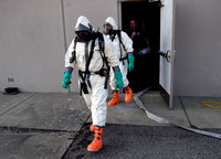 Firefighters train for fire with hazardous material