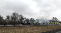 Truck catches fire, stalls traffic on Interstate 65